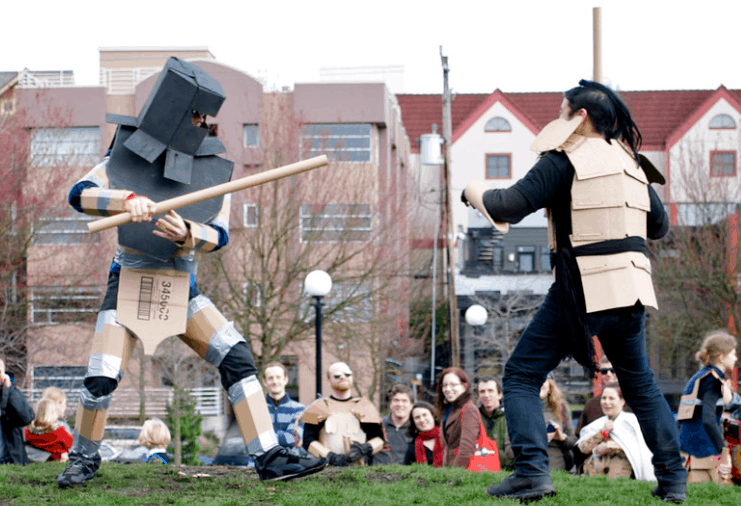 Weird sports carboard tube fighting