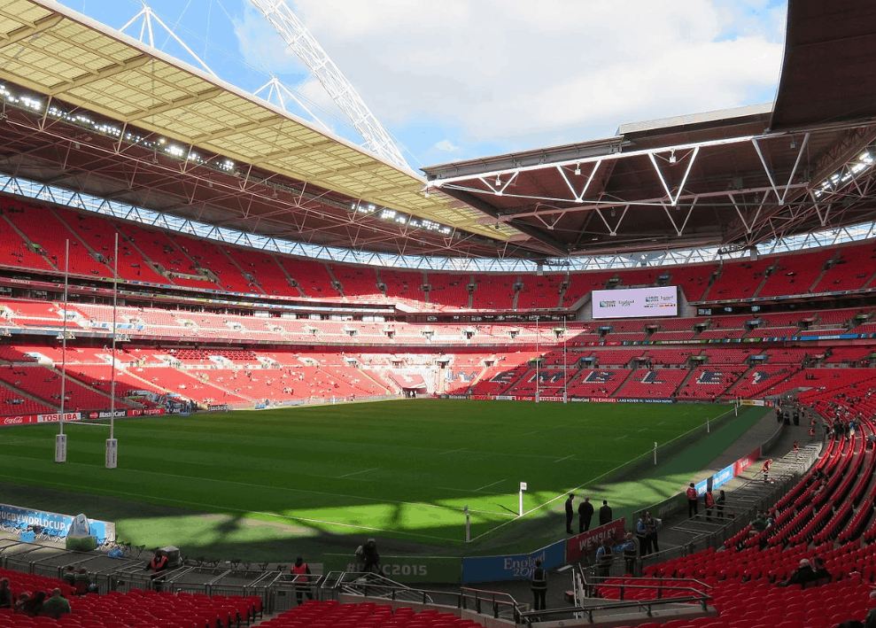 Wembley Stadium before a rugby game